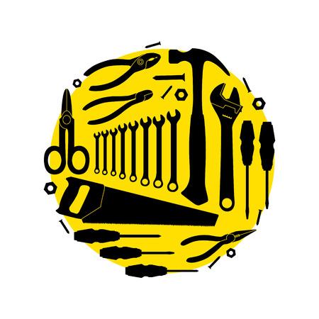 jig saw: Circular pattern of the instruments. Vector illustration Illustration