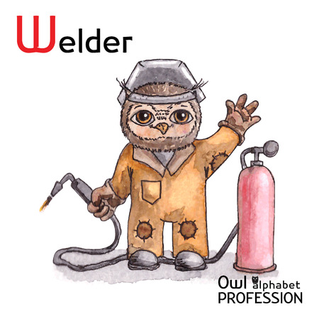 plazma: Alphabet professions Owl Letter W - Welder Vector Watercolor