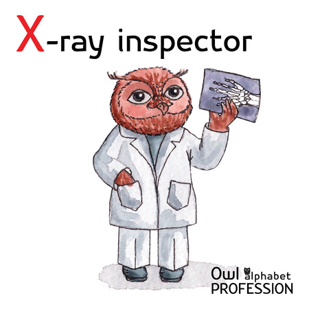 Alphabet professions Owl Letter X - X-Ray Inspector Vector Watercolor Vector