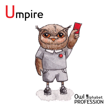 soccer referees hand with red card: Alphabet professions Owl Letter U - Umpire Vector Watercolor
