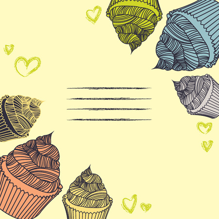 chalks: Vintage cupcake. Card cupcakes hand-drawn with chalks