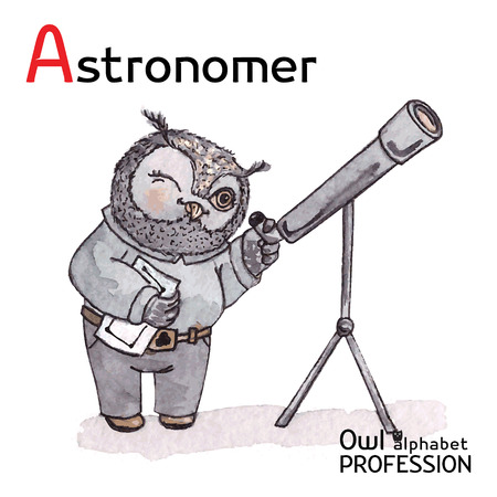 astronomer: Alphabet professions Owl Letter A - Astronomer Vector Watercolor