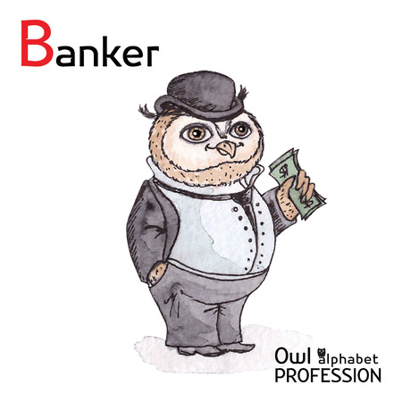 counterfeit: Alphabet professions Owl Letter B - Banker Vector Watercolor Illustration