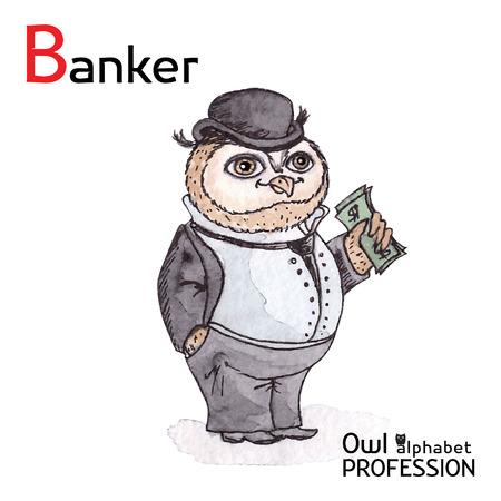 counterfeit: Alphabet professions Owl Letter B - Banker Vector Watercolor Illustration