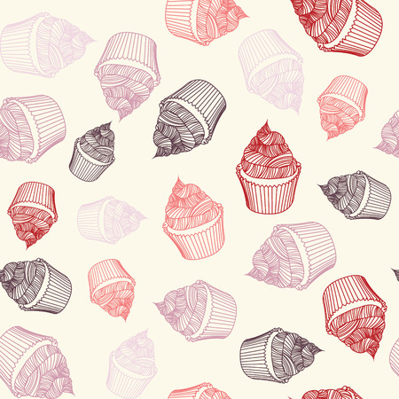 chalks: Vintage cupcake with chalks. Sketches Seamless pattern
