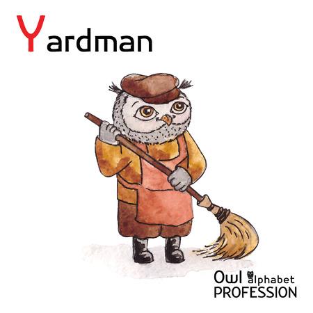 Alphabet professions Owl Letter Y - Yardman Vector Watercolor Vector