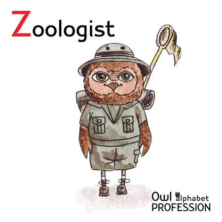 petting zoo: Alphabet professions Owl Letter Z - Zoologist Vector Watercolor