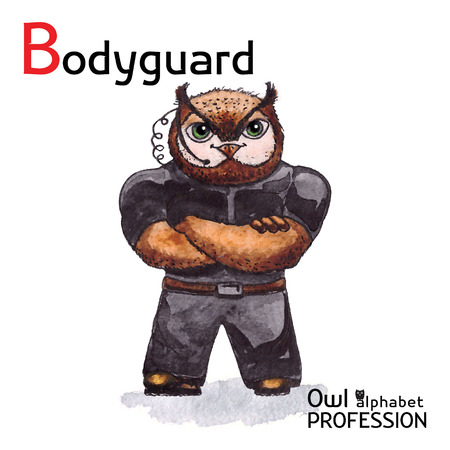 bodyguard: Alphabet professions Owl Letter B - Bodyguard Vector Watercolor