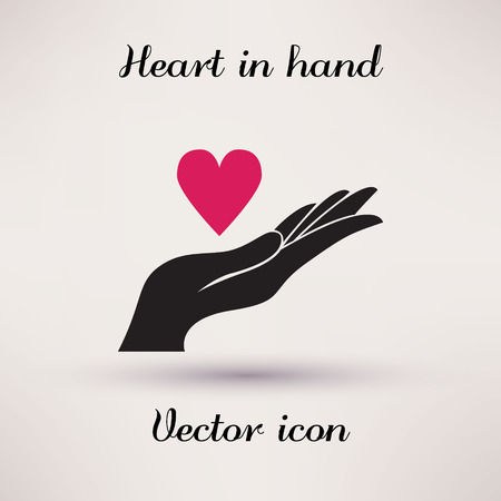 hope: Pictograph of heart in hand Vector icon Template for design