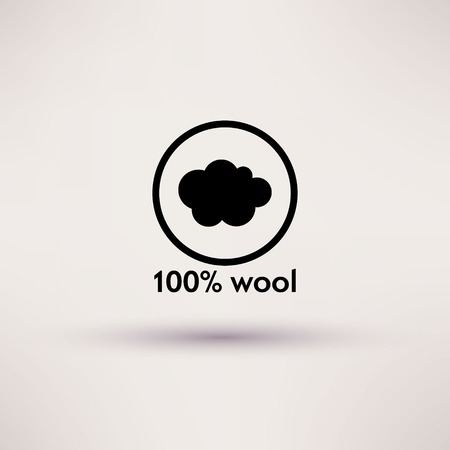 garment label: Icon of 100 percent wool Isolated Vector illustration