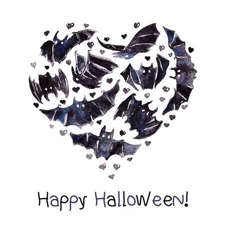 Bats Heart Illustration Vector Waterolor Happy Halloween Vector
