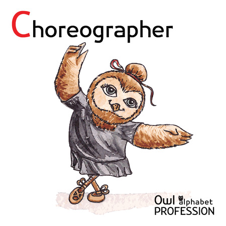 choreographer: Alphabet professions Owl Letter C - Choreographer Vector Watercolor Illustration