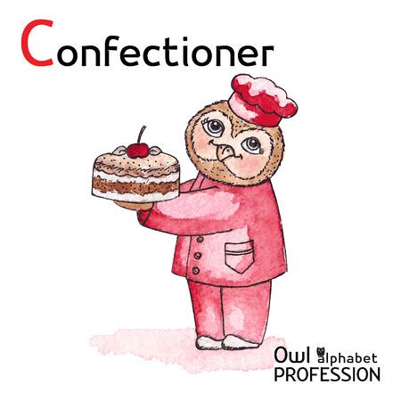confectioner: Alphabet professions Owl Letter C - Confectioner Vector Watercolor Illustration