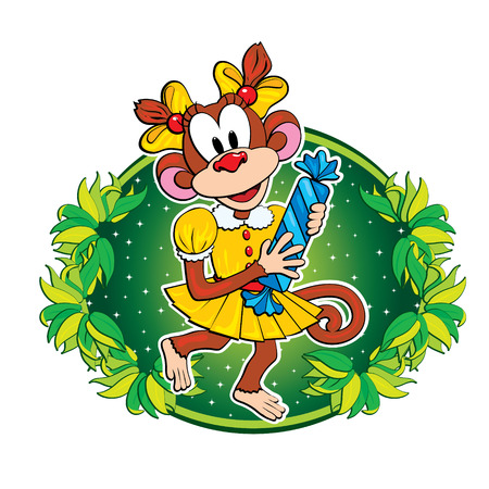 Funny monkey with a candy.  Vector
