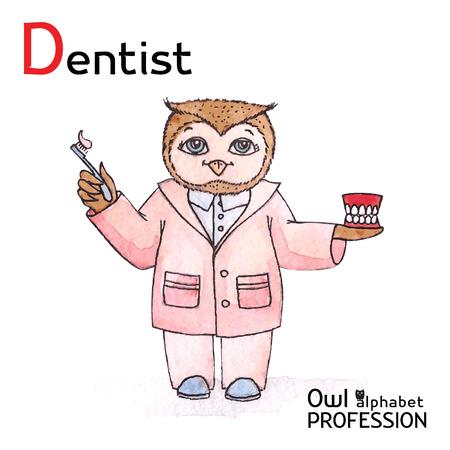 Alphabet professions Owl Letter D - Dentist Vector Watercolor Vector