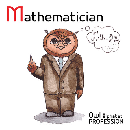 mathematician: Alphabet professions Owl Letter M - Mathematician Vector Watercolor Illustration
