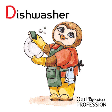 dishwashing liquid: Alphabet professions Owl Letter D - Dishwasher Vector Watercolor