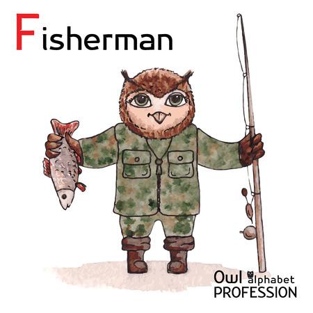 ardour: Alphabet professions Owl Letter F - Fisherman Vector Watercolor
