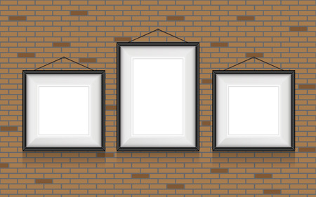 collage: Collage of picture frames on the brick wall.