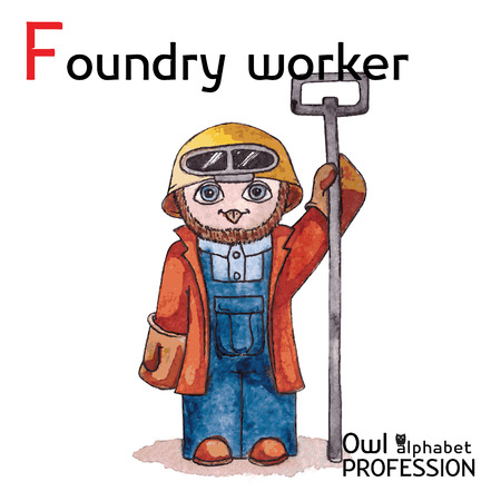 Alphabet professions Owl Letter F - Foundry worker Vector Watercolor
