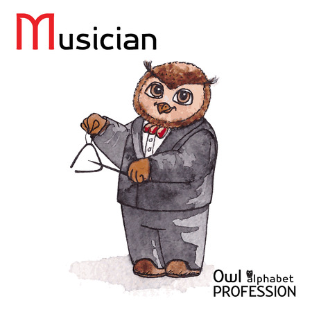 triangle musical instrument: Alphabet professions Owl Letter M - Musician Vector Watercolor Illustration