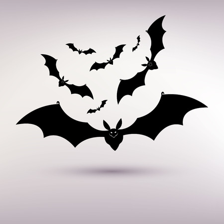 halloween bat vector background on the gray background