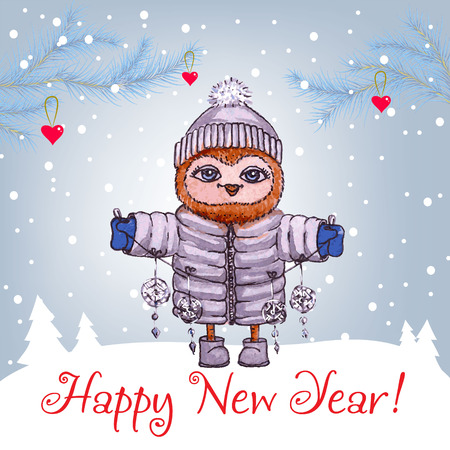 Happy New Year greeting card with cute owl in winter hat Vector Watercolor 向量圖像