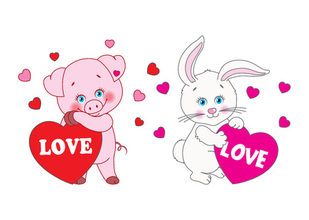 edit valentine: Pig and rabbit holding a heart