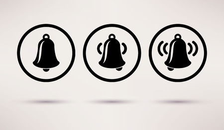 bell ringer: Bells ringing, vector icons set in a flat style
