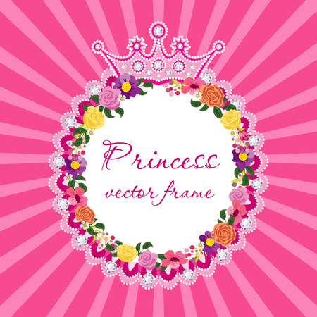 beautiful princess: Flower frame with crown for little princess Vector