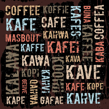 craquelure: Poster, decorative panels labeled coffee in different languages
