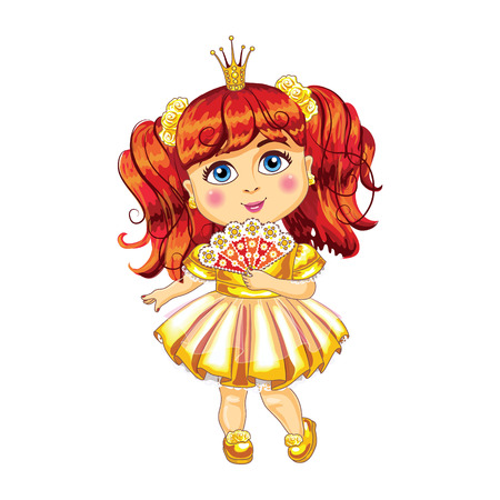 Cute little princess in a yellow dress Vector Illustration