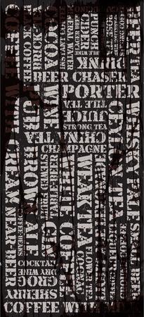 cappucino: Poster, decoratieve paneel inscripties over verschillende dranken Stock Illustratie