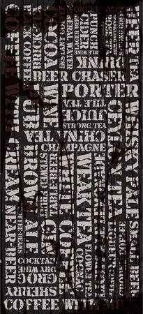 chaser: Poster, decorative panel inscriptions about different drinks