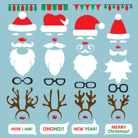 Christmas Photo Booth and scrapbooking vector set Santa, reindeer Illustration