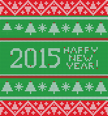 spruce thread: Bright Christmas knitted pattern with trees, snowflakes and inscription happy new year