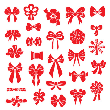 black ribbon bow: Set vector bows of different shapes red color