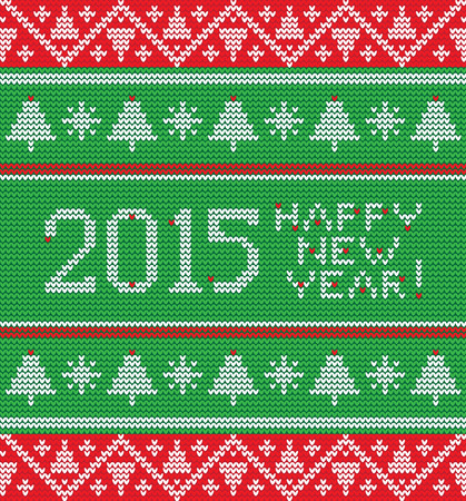 Bright Christmas knitted pattern with trees, snowflakes and inscription happy new year Vector
