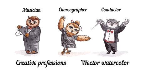 maestro: Owls creative professions. Vector watercolor. Birds artists