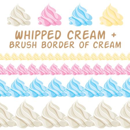 Whipped cream and border colorful brush. Vector set