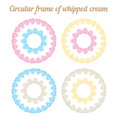 whipped: Whipped cream and circular frame. Vector set