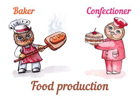 Owls baker and confectioner. Vector watercolor set Vector