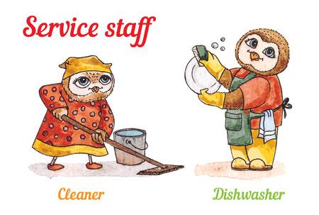 dishwashing liquid: Owls and Dishwasher cleaner. Vector watercolor set Illustration