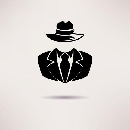 アイコンのスパイ、秘密エージェント、マフィア ベクトル アイコン  イラスト・ベクター素材