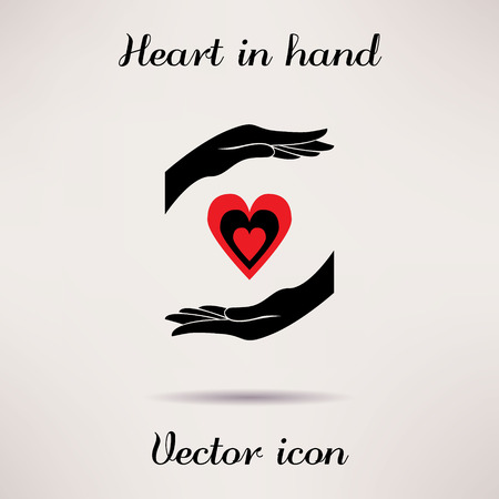 Pictograph of heart in hand Vector icon Template for design Stock Vector - 34719542