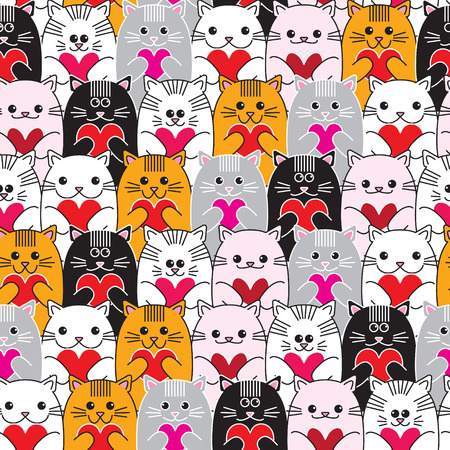 Cats with hearts in hands, seamless vector pattern.