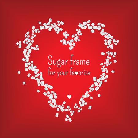 el coraz�n de san valent�n: Marco del coraz�n de San Valent�n con el az�car dulce
