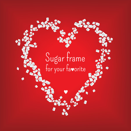 valentijn hart: Valentijn hart frame met zoete suiker Stock Illustratie