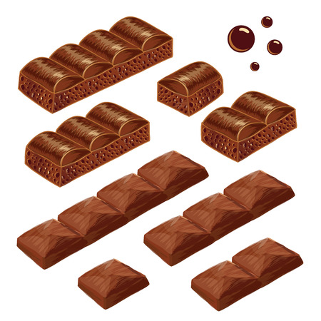 chocolate pieces: Porous and milk chocolate pieces.