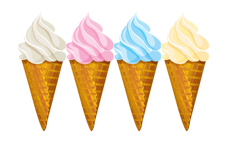 vanilla ice cream: Ice cream waffle cone, four different colors.